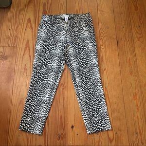 Cache Black White Snakeskin 5 Pocket  Pants Size 8